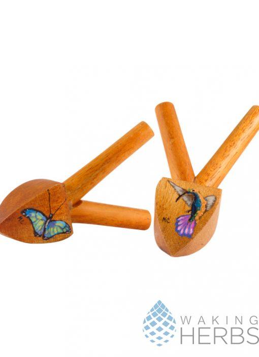 Hand painted Kuripe | Snuff Applicator | Rapé Applicator | Mahogany Kuripe