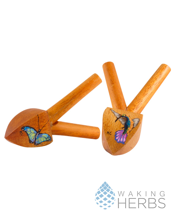 Hand painted Kuripe | Snuff Applicator | Rapé Applicator | Mahogany Kuripe
